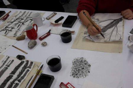Sumi-e im Atelierprojekt