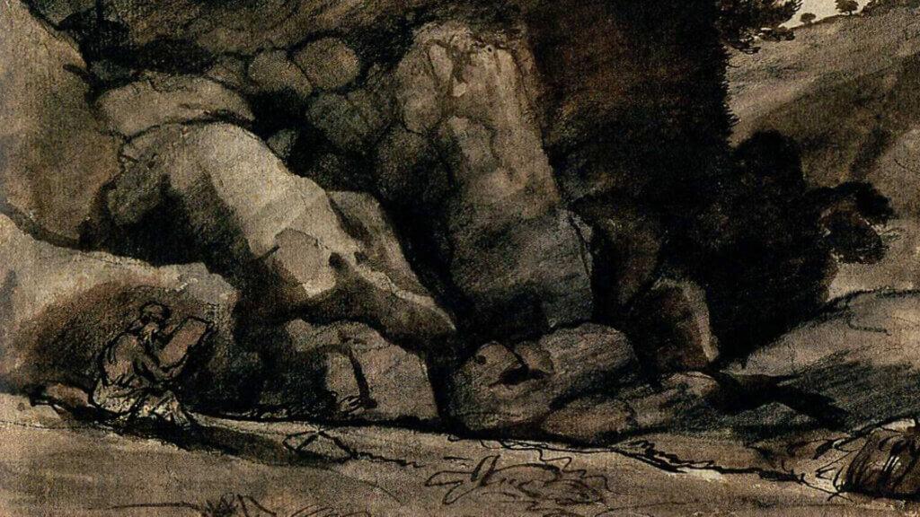 Felsen, Zeichnung von Claude Lorrain