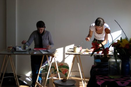 Aquarellmalerei im Atelier im Aquarell im Glockenbach