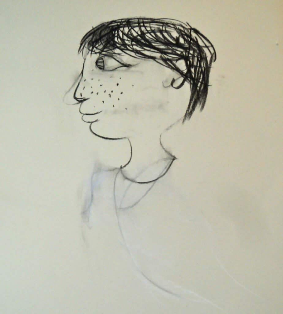 Elena (8 Jahre) Kinderkohlezeichnung von Jeremy