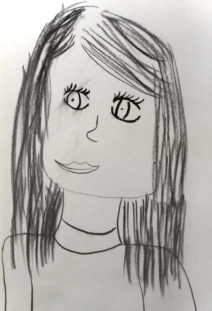 Pia (8 Jahre) zeichnet Elena mit Kohle