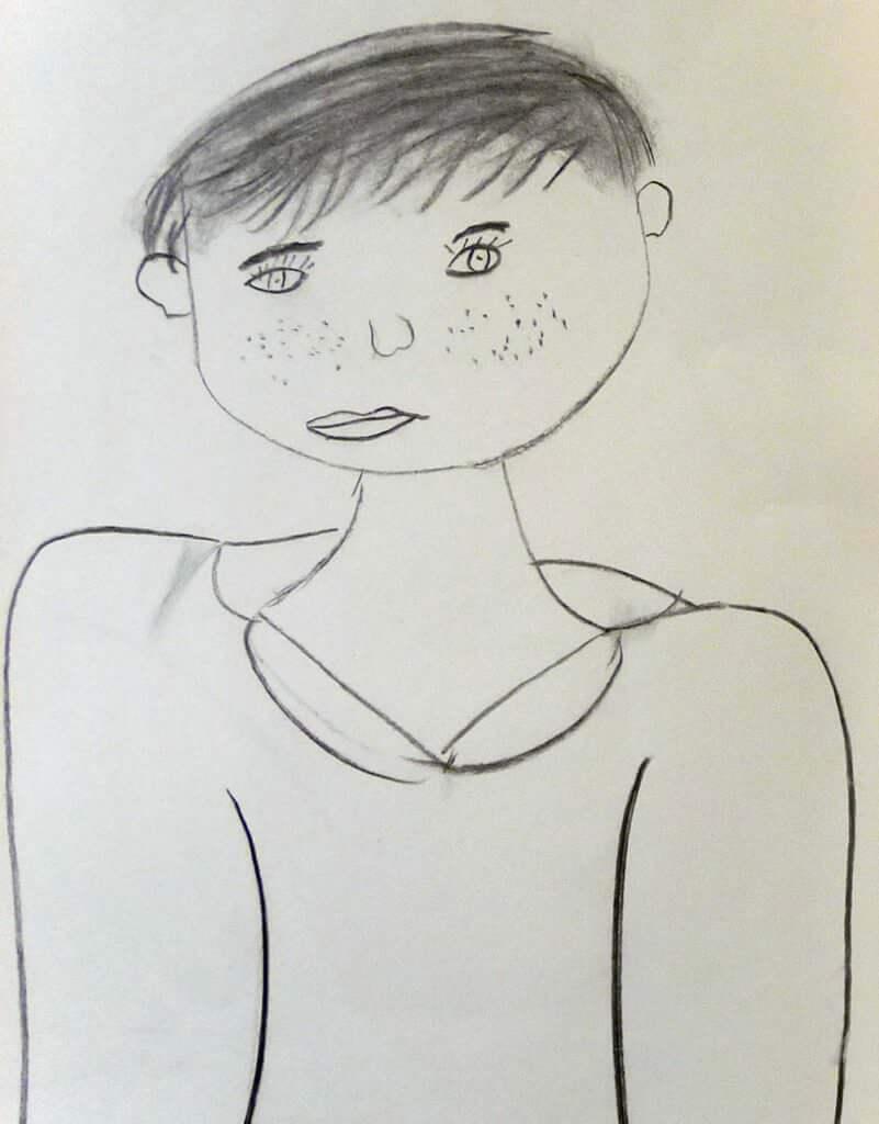 Pia (8 Jahre) Kinderkohlezeichnung von Jeremy