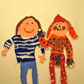 Freundinnen - Kinderportrait in Acryl von Kindern gemalt